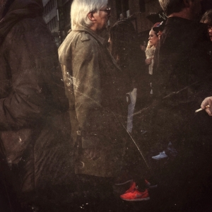 White hair, red shoes & a cigarette