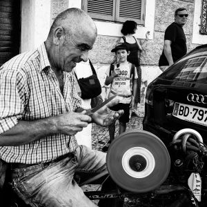 The Knife Sharpener (Street portrait, Lisbon)