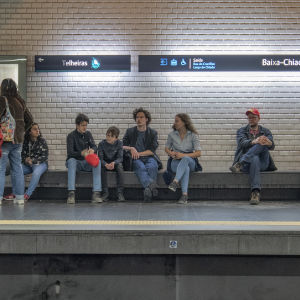 Waiting for the metro in Lisbon