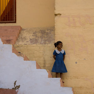 little girl and geometrical design